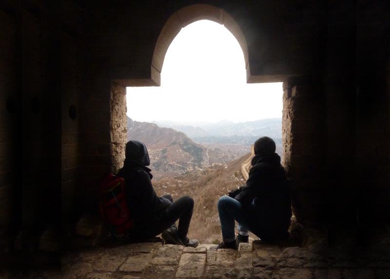 Lukas und Tobias auf der Chinesischen Mauer